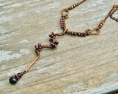 Purple Lightning - wire wrapped with iris purple seed beaded necklace