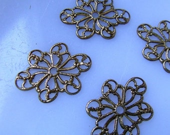 20% off sale Exquisite Vintage Brass Filigree Floral Motif Stamping - 24X17 - four