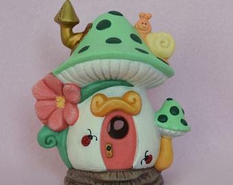 Mushroom Fairy  House - Polka Dot Fairy House -Green Fairy House - Snail Fairy House - Lighted Fairy House - Gift for Girls - Fairy Garden