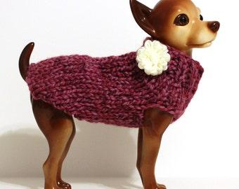 Pink Multi Dog Sweater w/ Flower