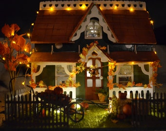 Fall Dollhouse With Antique Furnishings