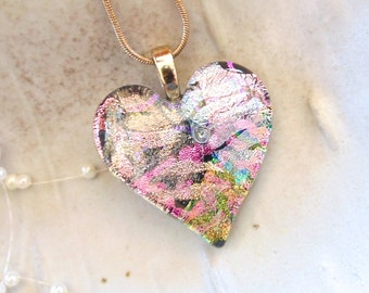 Dichroic Heart Pendant, Glass Jewelry, Pink, Necklace Included, A10, AF