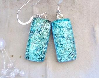 Aqua Earrings, Dichroic Glass Earrings, Glass Jewelry, Dangle, Light Blue, A1