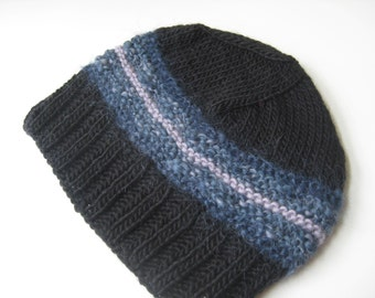 black knit hat with lavender and teal blue