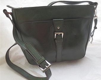 Etienne Aigner New Olive Green Leather Purse - Shoulder Bag - Long Strap Vintage  Front Buckle