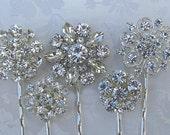 5 Wedding Hair Pins, Crystal hair clips, Bridesmaids hair pin, silver bobby pin, Bridal Accessories, Bridesmaids Gifts, Bridesmaid hair clip