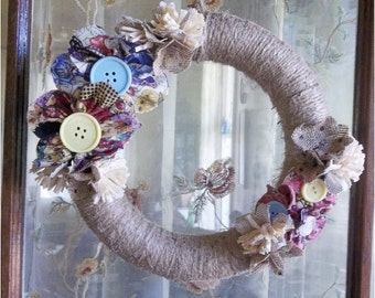 "Twine Wreath, Jute, Rustic Wreath, Handmade Cloth, Front Door Country, Burlap Flower Accents, Hand Wrapped Jute 10"" Wreath, READY To SHIP"