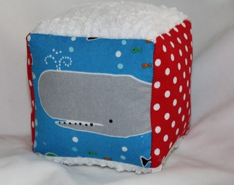Sea Life and Dots Fabric Block Rattle Toy