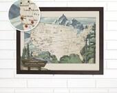 USA National Parks, Wall Map Art, Customized Pushpin Travel Map