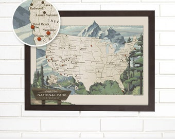 Us National Park Map Etsy - Personalized us travel map