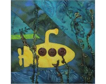 Small Art Quilt, Undersea Wall Hanging, Yellow Submarine Fiber Art