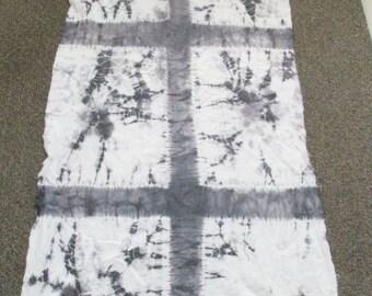 Shibori Arashi , Sateen Cotton Fabric, black, gray and white
