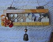 MEMORY - mini shadowbox - vintage materials - wall hanging - NO409