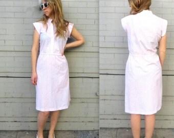 1970's Pink & Blue Striped Dress // Cap Sleeves // Women's Large // Lightweight Dress // Cotton