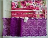 DIY BRA Kit Pink Roses & Purple Dots by Merckwaerdigh