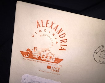 1949 Alexandria Virginia First Day Cover Issue Stamp