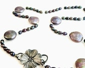Peacock pearl necklace, hammered Sterling Silver, Dogwood flower choker