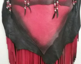 "REaDY To SHIP!!! Custom Leather Designer Handbag Hobo Bag Red and Black Fringed Deerskin Purse ""THE DRAGON"" Handmade by Debbie Leather"