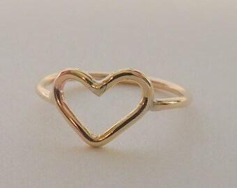 14K Gold Heart Ring Midi Ring