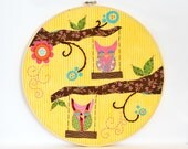 Yellow Owl Hoop Art - Boho Chic Wall Art - Boho Wall Decor - Collage Embroidery Art - Whimsical Art - Owl Lovers Gift - Gift below 20 dollar