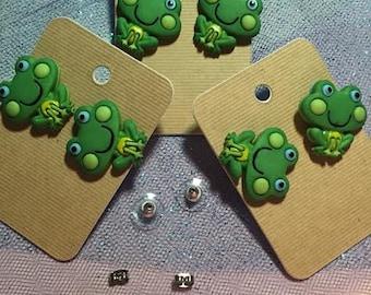 Green Boy Frog Earrings