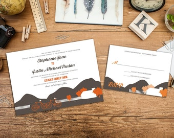 Farm Wedding Invitation, Save The Date, Outdoor Wedding Invitation, Casual Wedding, Home Wedding Invite, Wedding Response Card, Thank yous