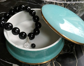 Onyx Beaded Bracelet with Dangles