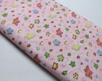 Moonbeams in a Jar Pink Stars Music Notes Baby Girl Print Quilting and Sewing Fabrics Child Fabrics Quilters