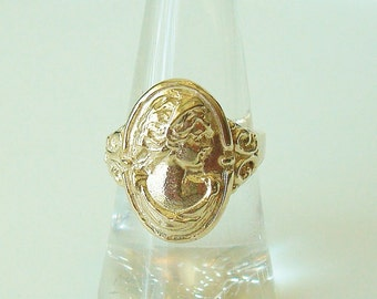 10kt gold woman's profile ring - gold cameo ring - made to order