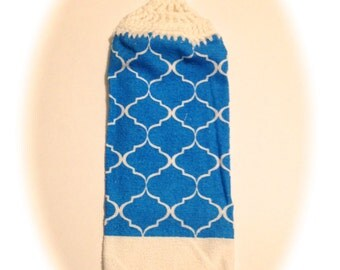 Blue And White Hand Towel With White Crocheted Top