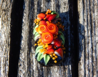 Fire Flowers, Focal Bead, Handmade Artisan Glass Lampwork Bead, Simply Lampwork by Nancy Gant SRA G55