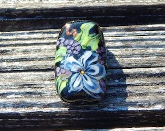 Blue Lace flower, Focal Bead, Handmade Artisan Glass Lampwork Bead, Simply Lampwork by Nancy Gant SRA G55