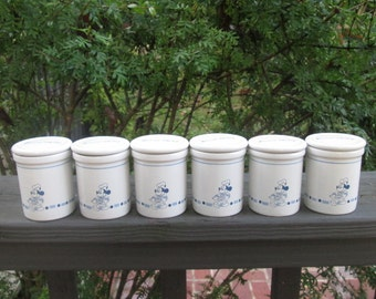 Vintage Stoneware Spice Jars/ Pots - Six Small Gourmet Mickey Jars - Blue and White