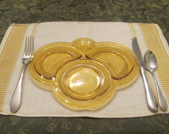 Four Vintage Woven Linen Placemats - Natural/ Gold