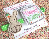 Happy Easter Bunny and  carrot hair clippie set of 2 green white polka dot clips