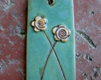 Rustic Flower Duet Porcelain Pendant