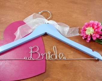 Bridal Hangers - Shower Gift - Something Blue - Gift for Bride - Brides Gift - Bridal Shower - Wood Hangers - Clothes Hangers - Dress