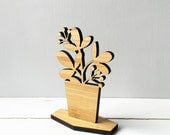 Wooden House Plant, spring decor, shelf ornament, desktop home decor, ficus