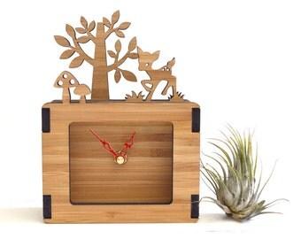 Desktop Clock, Unique Clock, Decorative Clock, Nursery Decor, baby shower gift, Fawn, Mushroom, Tree