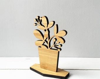 Wooden House Plant, spring decor, shelf ornament, desktop home decor, ficus