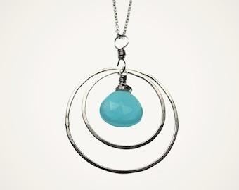 ORBIT sterling silver hoop necklace circle necklace yoga jewelry yoga necklace gemstone necklace gemstone necklace hammered hoop jewelry