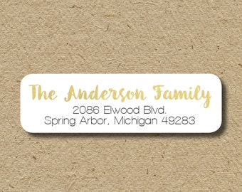 Return address labels with gold foil look, personalized address stickers, self-adhesive return address labels, gold metallic look