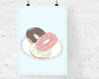 Doughnuts Decorative Foodie Illustration Art Print