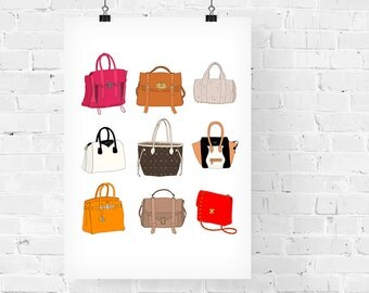 9 Designer Handbags Fashion Illustration Art Print