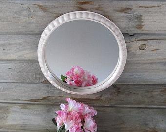 Vintage Pink Mirror, Round Mirror, Nursery Mirror, Shabby Cottage Chic Mirror