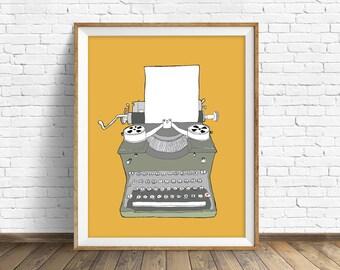 Typewriter No. 2 - drawing, art print, mid century modern, wall art, large art, wall art print, retro decor, vintage typewriter, orange, art