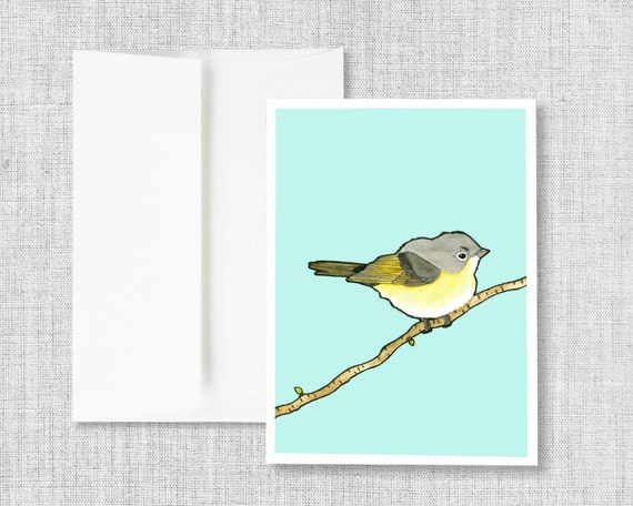 "greeting card, blank greeting card, greeting card set, bird, watercolor, yellow, blue, drawing, blank cards, card set - ""American Redstart"""