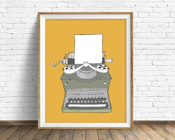 Typewriter No. 2 - drawing, art print, mid century modern, wall art, large art, wall art print, retro decor, vintage typewriter, orange, art