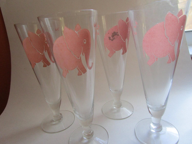 4 pink elephant 1930s barware 8 2 draft beer fluted