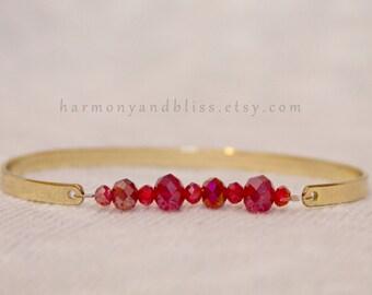 Red bead bangle, beaded bangle bracelet, goldtone bangle bracelet, stacked jewelry, stackable layer bracelet, stackable bangle bracelet